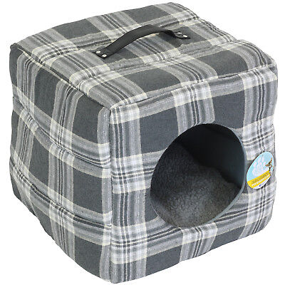 Me & My Soft Grey Tartan Cat/dog Igloo Box Pet Bed Warm House/cube Puppy/kitten