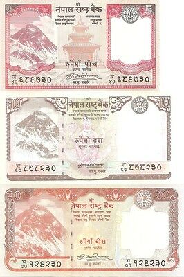 NEPAL - 5 10 20 rupee - 2008 DEMOCRAT first issue Set of 3 Uncirculated