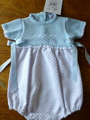 Free P&p Spanish Knitted Bodice Waffle Romper Romany 0/3,3/6,6/12,12/18 Months