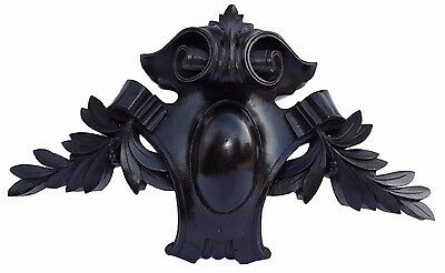 French Antique Napoelon III Large Hand Carved Black Wood Pediment Cornice