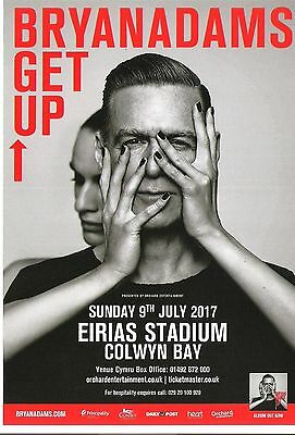 BRYAN ADAMS 'Get's Up'  in Wales 2017  UK FLYER / mini Poster 8x6 inches
