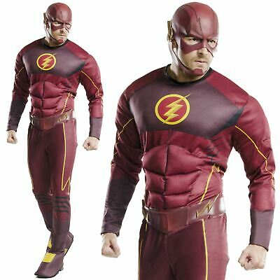 Adult Mens Deluxe The Flash DC Comic Superhero Muscle Chest Fancy Dress Costume