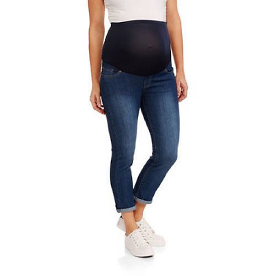 Times Maternity Over Belly Cotton Denim 5 Pocket Roll Cuff Denim Capri, Med, M