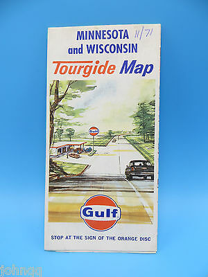 Vintage 1971 Gulf Map - Minnesota and Wisconsin Tourgide Map