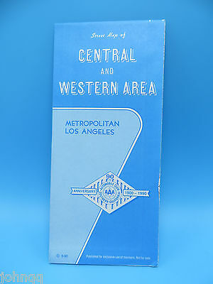 Vintage 1990 AAA Map - Los Angeles Central and Western Areas