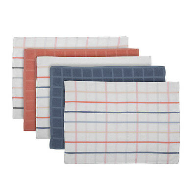Pack of 5 - Terry Tea Towels - Blue & Coral