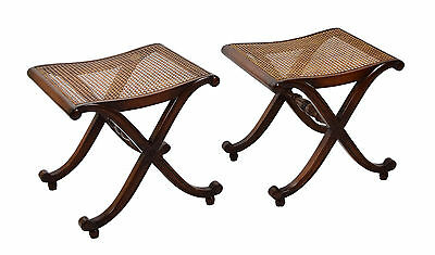 Pair Restall Brown & Clennell English Mahogany X-Form Stools with Cane Seats