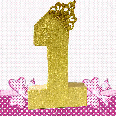 Cake Smash Prop Number One Gold Glitter 1St Birthday Party Centrepiece Decorat