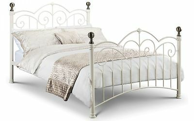 New Stunning Isabel Stone White Metal Bed Frame in 4'6 Double & 5'0 King Size