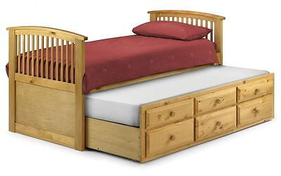 New Stunning Horn Blower Antique Pine 3'0 Single Bed Frame with Under Bed