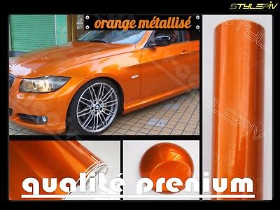 film vinyle covering orange brillant métallisé 150 x 30cm thermoformable adhésif