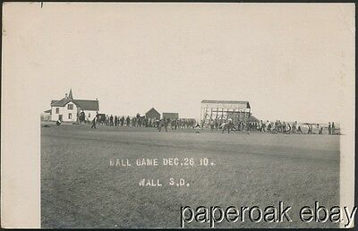 1910 Ball Game In Wall, South Dakota Real Photo Postcard