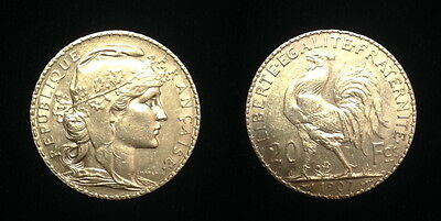 STUNNING 1907 GOLD 20 FRANCE French Rooster  -- GEM BU PRE WW-I ERA CLASSIC COIN
