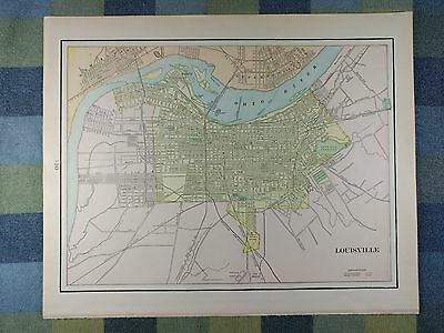 1901 LOUISVILLE KENTUCKY Map Antique Original Frankfort Vintage Franklin MAPZ17
