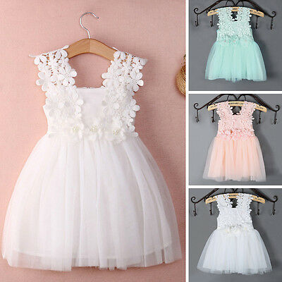 Toddler Kids Baby Girls Princess Lace Floral Dress Wedding Party Formal Dresses*
