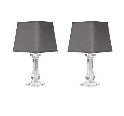 Modern Pair of Clear Bedside Lounge Table Lamp Lights w/Grey Fabric Shades