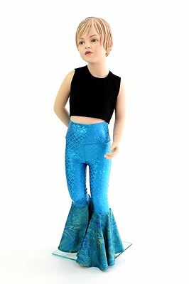 Kids 5T Blue/Green Mermaid Scale 70's Bell Bottom Flare Pants Ready to Ship!