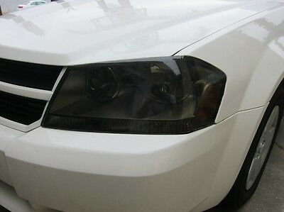 08-14 Dodge Avenger Smoke Headlight Precut Tint Cover Smoked Overlays