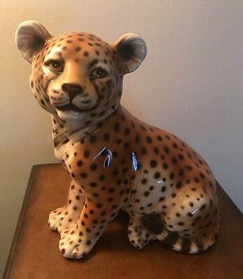 """Beautiful Large  Leopard Cub Sitting Up Figurine Made Italy  11"""""""