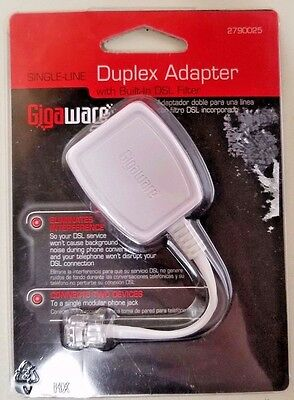 Gigaware 2790025 Single-Line Duplex Adapter with Built-In DSL Filter