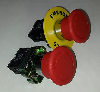 Emergency Stop Button, Twist to Release, 1 N/C contact, with or without legend