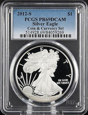 2012 S Silver Eagle Coin & Currency Set Proof PCGS PR 69