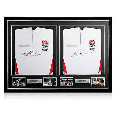 Deluxe Dual Framed Jonny Wilkinson And Martin Johnson Signed England Shirt