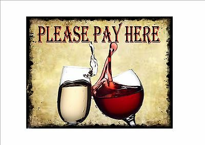 Please Pay Here Wine Bar Pub  Pay Here Cafe Sign Metal Vintage Takeaway Sign
