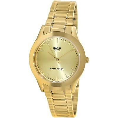 Casio MTP1128N-9A Mens Gold Tone Stainless Steel Dress Watch Gold Dial New