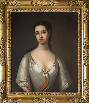 Fine Large 18th Century British Portrait of a Lady Realism Antique Oil Painting
