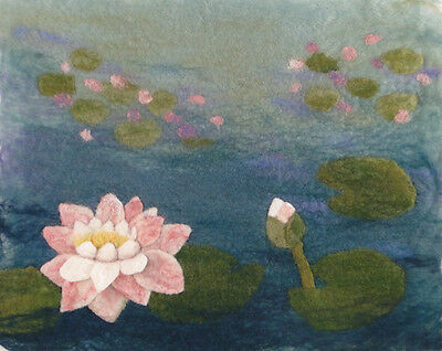Water Lily Picture, Monet inspired, felt making Kit with online tutorial