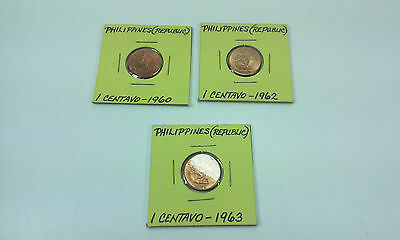 Lot Of 3 1960 1962 1963 Philippines 1 Centavo Coins Extremely Fine Condition