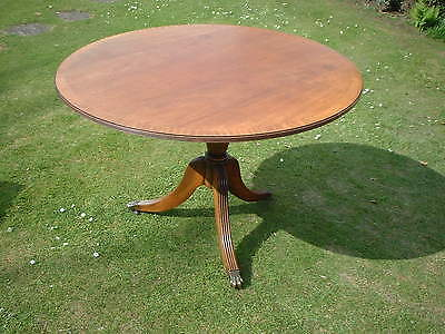 "Regency Style 42"" Round Single Pedestal Mahogany Dining Table Three legged type"
