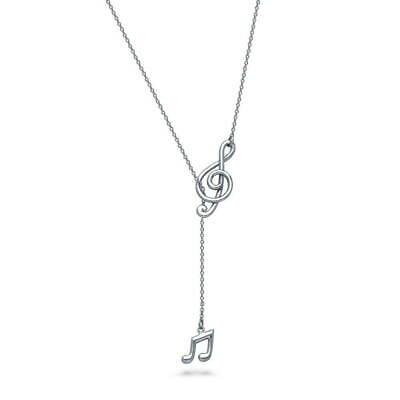 BERRICLE Sterling Silver Treble Clef Music Note Fashion Lariat Necklace