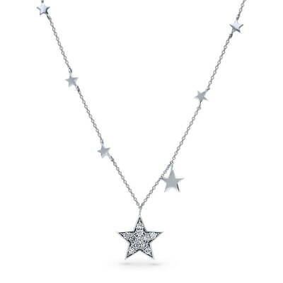 BERRICLE Sterling Silver CZ Star Fashion Pendant Necklace