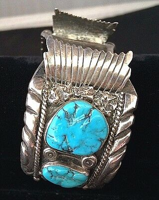 Vintage Old Pawn Navajo Silver and Turquoise Watch Cuff Native American *ST527