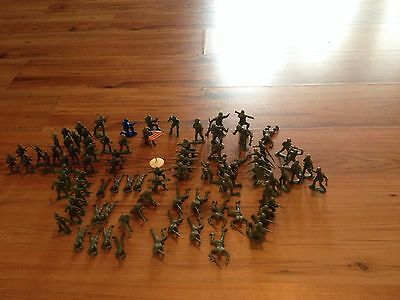 Vintage Lot  MPC Plastic Military Soldiers Lot USA Flag 1960's GB