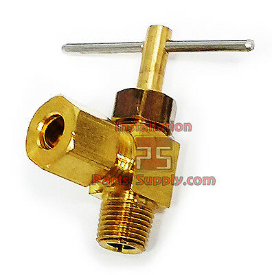 """1/4"""" Compression x 1/8"""" Male NPT 90° Angle Elbow Shut-Off Air Water Needle Valve"""