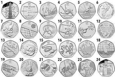 UK CHEAPEST 50p Olympic Coin,Tennis, GoalBall, Aquatics,JEMIMA,WWF, KEW GARDENS!