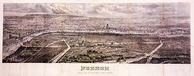 """1861 LONDON - Huge Rare Antique Print """"LONDON FROM THE SOUTH SIDE"""" Hand Coloured"""