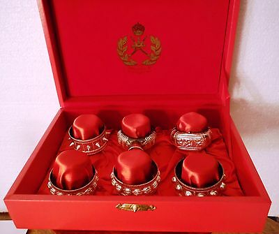 Royal Flight Oman Sultan's VIP Airline 6 Sterling Silver Napkin Rings In Red Box