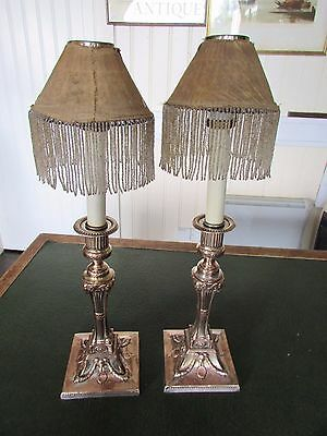 Pair of George IV Silver Plated on Copper Candle Sticks, Shades & Carriers
