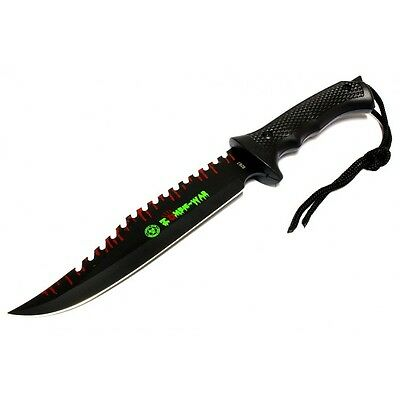 """13"""" Zombie-War Stainless Steel Hunting Knife with Black Handle  8267"""