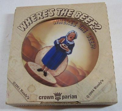 Rare 1984 Wendy's Where's the Beef Advertising Collector Plate Box Clara Peller