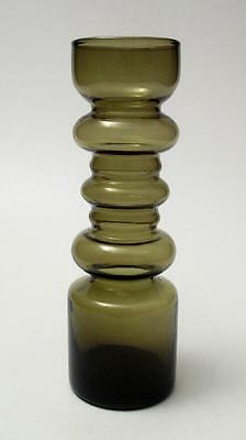 Vintage Scandinavian Hooped Olive Green Cased Art Glass Vase Mid Century Modern