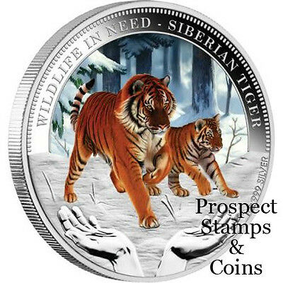 2012 Wildlife in Need - Siberian Tiger 1oz Silver Proof Tuvalu Coin