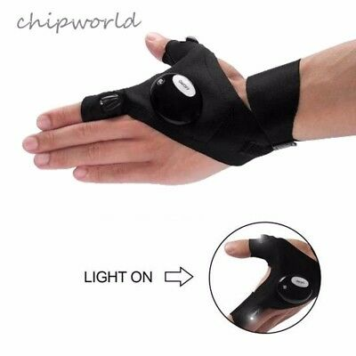 Auto LED Light Finger Lighting Flashing Gloves Fishing Outdoors Repair Work Left