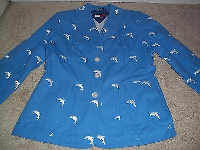 Tommy Hilfiger Aquatic Dolphin Lover Women's Blazer Sz 12 Embroidered Cute EXC