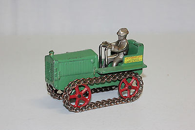 Antique Arcade Cast Iron Caterpillar Ten Tractor & Nickel Driver EX Must L@@K