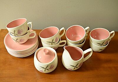 Vtg 18 Pcs. Paden Cty Pottery Tea Cups w Saucers, Sugar Bowl Creamer Pink Cream